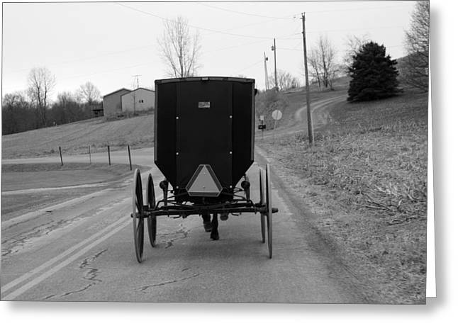 Amish Community Greeting Cards -        A Cold Amish Ride Greeting Card by Wendy Aycox  Newkirk