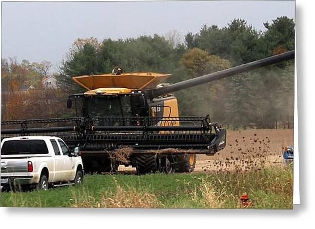 Farmers Field Greeting Cards -       Fall Soy Bean Harvest Greeting Card by R A W M