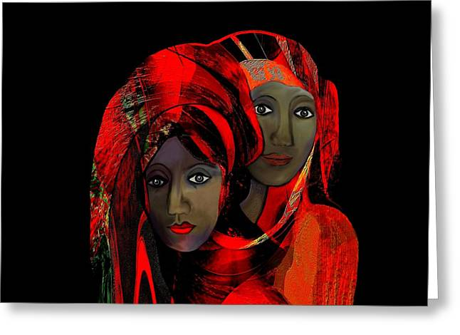 Black Scarf Greeting Cards -   000 - Colour of passion Greeting Card by Irmgard Schoendorf Welch