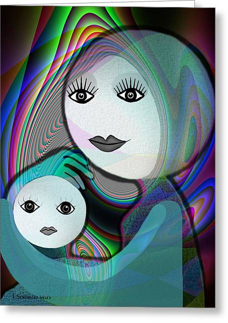 Naive Art Greeting Cards -  044 - Moon - Mother - Child  - Smile Greeting Card by Irmgard Schoendorf Welch