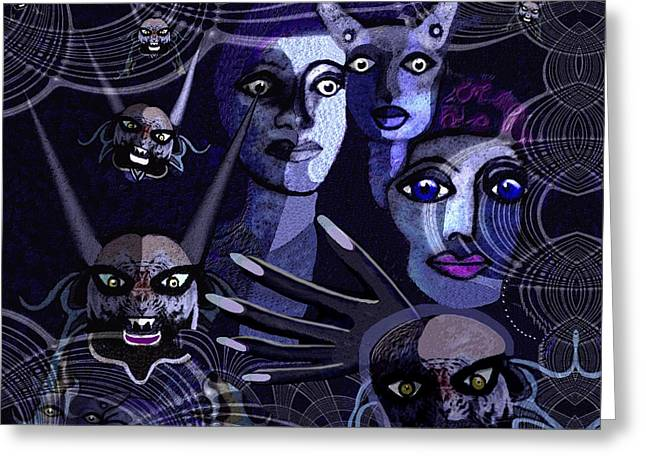 Hallucination Greeting Cards -  060 -  Paranoia Blues ... Greeting Card by Irmgard Schoendorf Welch