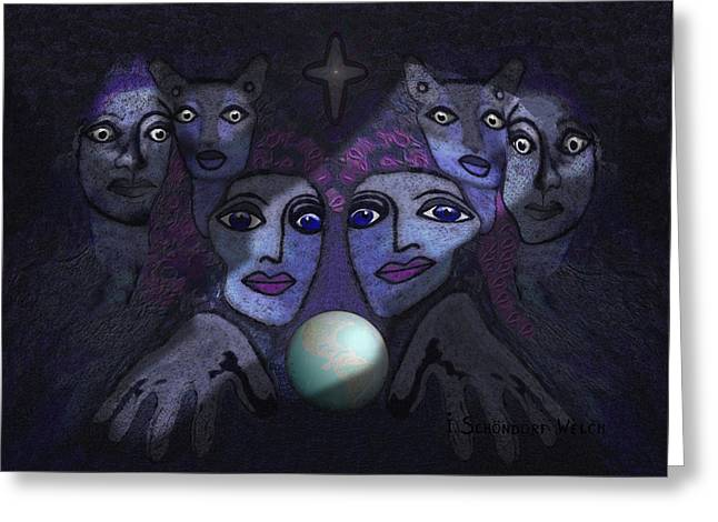 Hallucination Greeting Cards -   062 - Demons B Greeting Card by Irmgard Schoendorf Welch