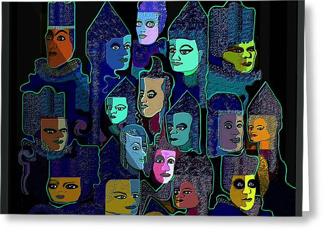 Green Hat Art Greeting Cards -   067 - Pyramid Of Faces Greeting Card by Irmgard Schoendorf Welch
