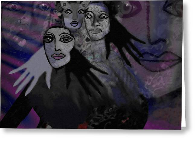 Violett Greeting Cards -  071 -  People of   night   Greeting Card by Irmgard Schoendorf Welch