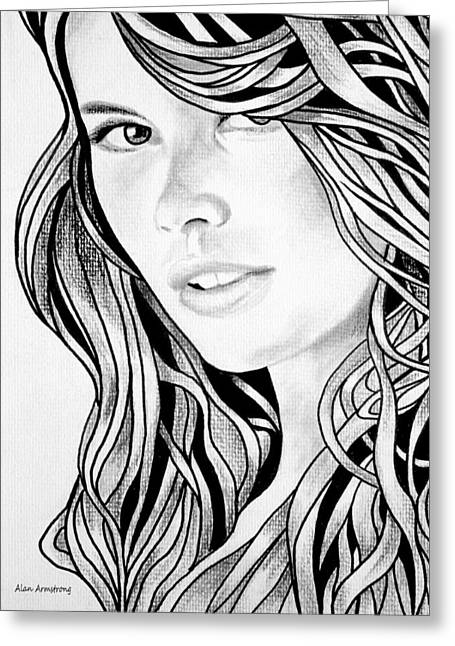 Super Stars Drawings Greeting Cards - # 1 Cludia Schiffer portrait Greeting Card by Alan Armstrong