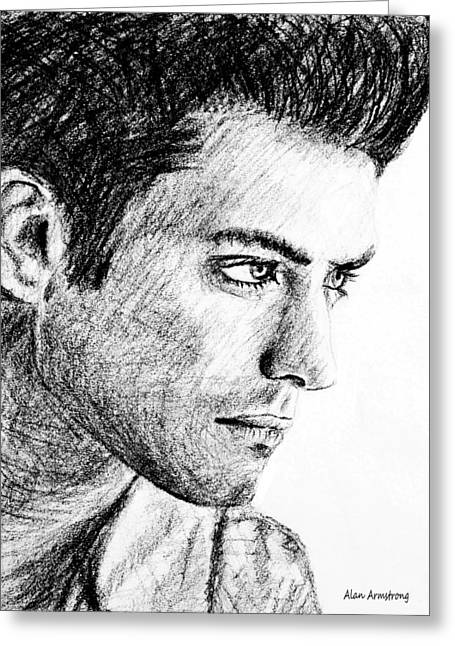 Classic Hollywood Drawings Greeting Cards - # 1 Jude Law portrait. Greeting Card by Alan Armstrong