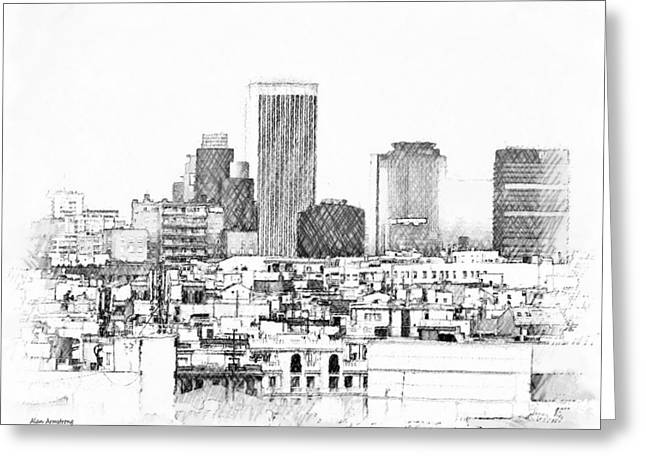 Spain Greeting Cards - # 1 Madrid Skyline Greeting Card by Alan Armstrong