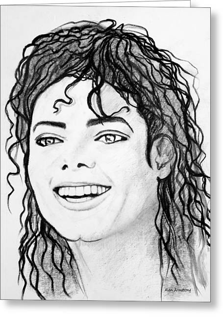 Mj Drawings Greeting Cards - # 1 Micheal Jackson portraits. Greeting Card by Alan Armstrong