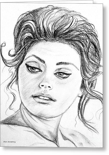 Sophia Loren Portrait Greeting Cards - # 1 Sofia Loren portrait Greeting Card by Alan Armstrong