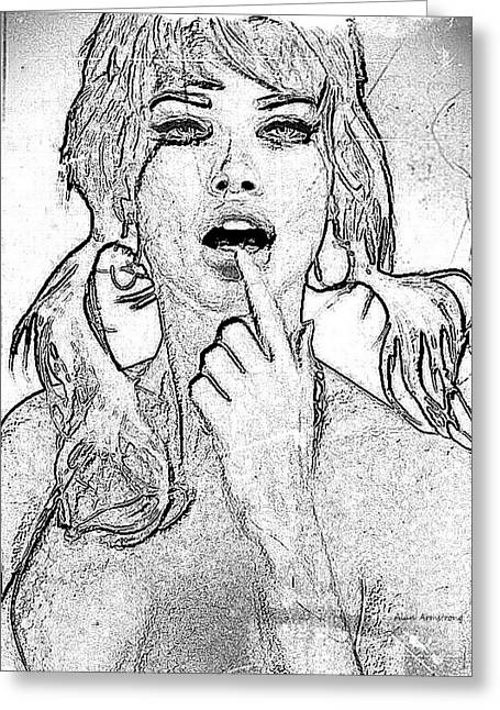 Adriana Lima Greeting Cards - # 10 Adriana Lima portrait. Greeting Card by Alan Armstrong