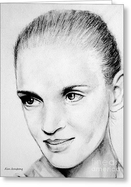 Super Stars Drawings Greeting Cards - # 10 Uma Thurman portrait Greeting Card by Alan Armstrong