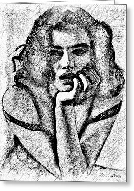 Adriana Lima Greeting Cards - # 11 Adriana Lima portrait. Greeting Card by Alan Armstrong