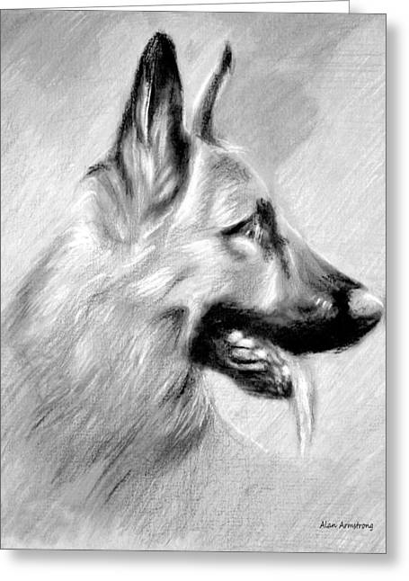 Puppies Drawings Greeting Cards - # 11 German Shepherd dog Greeting Card by Alan Armstrong