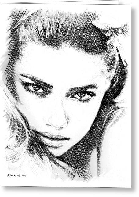 Super Stars Greeting Cards - # 13 Adriana Lima portrait. Greeting Card by Alan Armstrong