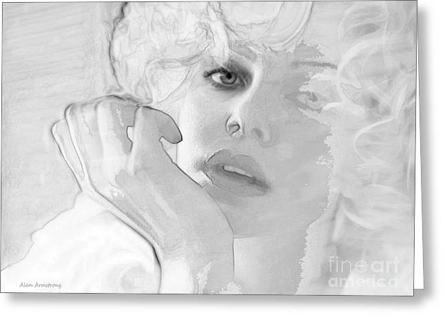 Charlize Theron Greeting Cards - # 13 Charlize Theron Portrait Greeting Card by Alan Armstrong