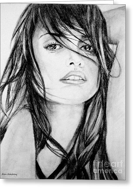 Pirates Greeting Cards - # 13 Penelope Cruz portrait. Greeting Card by Alan Armstrong