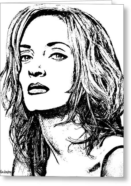 Super Stars Drawings Greeting Cards - # 14 Uma Thurman portrait Greeting Card by Alan Armstrong