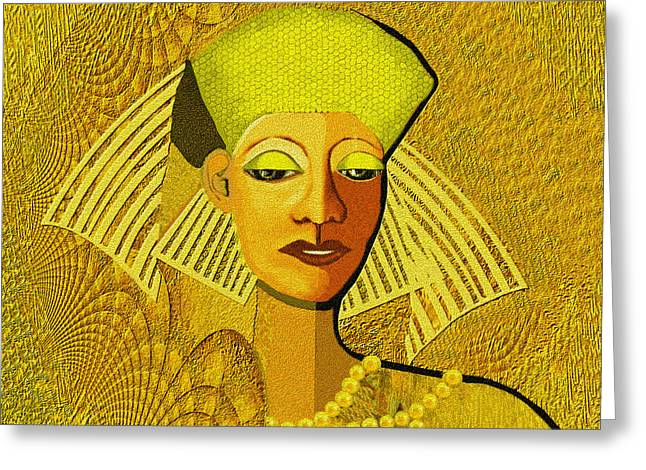 Best Sellers -  - Gold Necklace Greeting Cards -  189 Metallic woman golden pearls Greeting Card by Irmgard Schoendorf Welch
