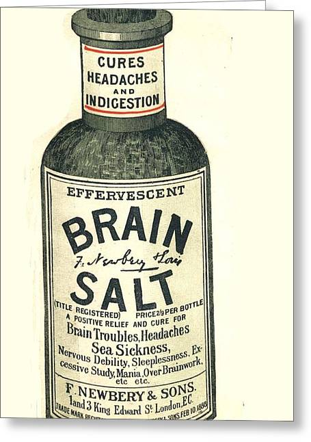 Ad Greeting Cards -  1890s Uk Brain Salt Headaches Humour Greeting Card by The Advertising Archives