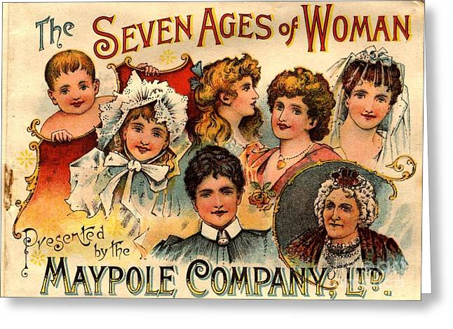 Vintage Greeting Cards -  1890s Uk Maypole Ageing The Seven Ages Greeting Card by The Advertising Archives