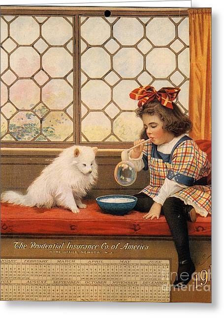 Nineteen-tens Greeting Cards -  1910s Usa Dogs Prudential Insurance Greeting Card by The Advertising Archives