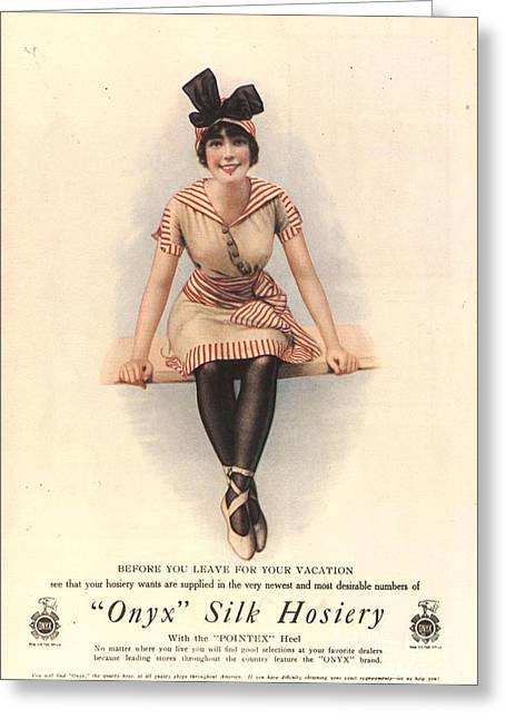 Nineteen-tens Greeting Cards -  1915 1910s Usa Onyx Silk Stockings Greeting Card by The Advertising Archives