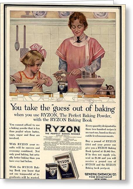 Nineteen-tens Greeting Cards -  1917 1910s Usa Cooking Ryzon Baking Greeting Card by The Advertising Archives