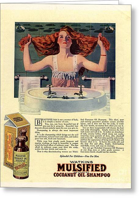 Nineteen-tens Greeting Cards -  1917 1910s Usa Mulsified Shampoo Hair Greeting Card by The Advertising Archives
