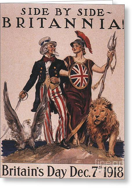 Nineteen-tens Greeting Cards -  1918 1910s Usa Uncle Sam Ww1  Lions Greeting Card by The Advertising Archives