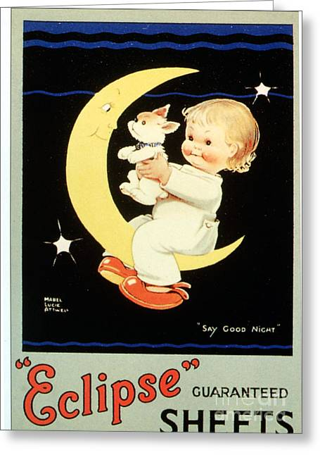 Vintage Drawings Greeting Cards -  1920s Uk Sleep Eclipse Beds Sheets Greeting Card by The Advertising Archives