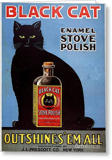 Twentieth Century Greeting Cards -  1920s Usa Cats Black Cat Enamel Stove Greeting Card by The Advertising Archives
