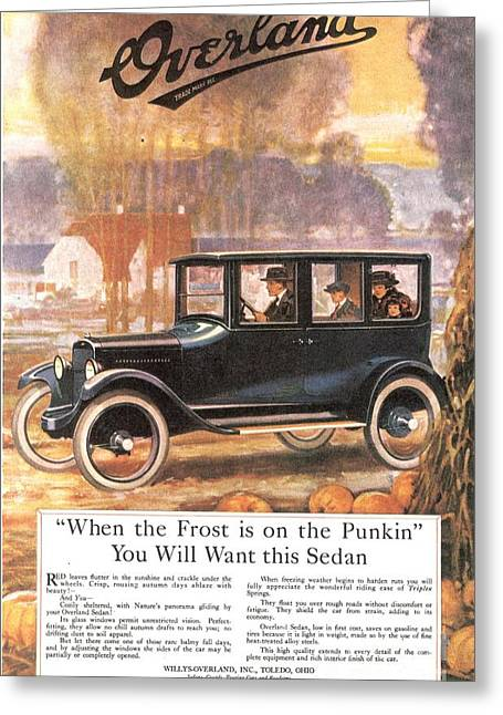 Twentieth Century Greeting Cards -  1920s Usa Overland Cars Greeting Card by The Advertising Archives