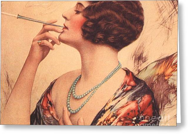 WomenÕs Drawings Greeting Cards -  1920s Usa Women Cigarettes Holders Greeting Card by The Advertising Archives
