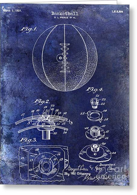 Jordan Drawing Greeting Cards -  1927 Basketball Patent Drawing Blue Greeting Card by Jon Neidert