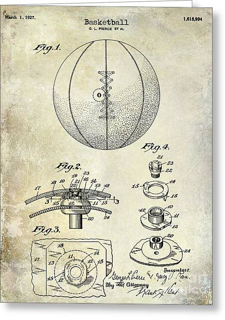 Jordan Drawing Greeting Cards -  1927 Basketball Patent Drawing Greeting Card by Jon Neidert