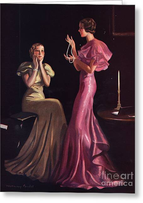 1930s Uk Womens Evening Gowns Dresses Greeting Card by The Advertising Archives
