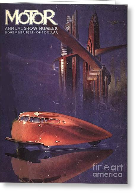 American Automobiles Greeting Cards -  1930s Usa Visions Of The Future Cars Greeting Card by The Advertising Archives