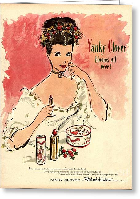 Twentieth Century Greeting Cards -  1930s Usa Yanky Clover Make-up Makeup Greeting Card by The Advertising Archives