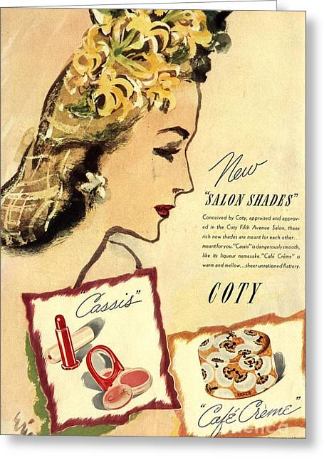 Twentieth Century Greeting Cards -  1933 1930s Usa Coty Make-up Makeup Greeting Card by The Advertising Archives