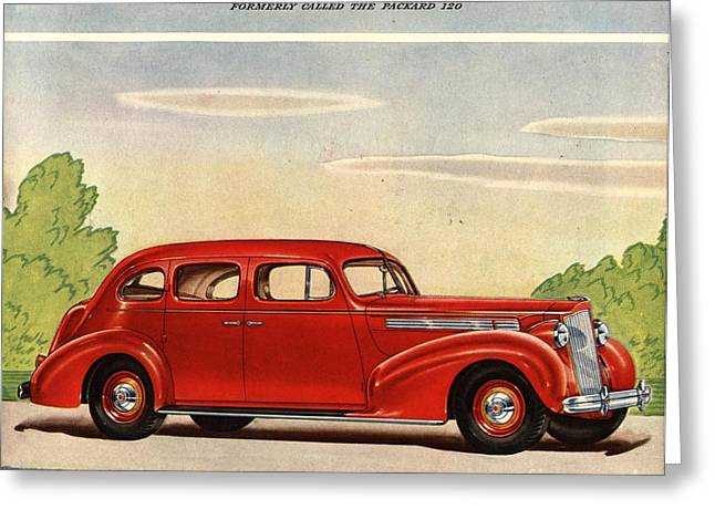 American Automobiles Greeting Cards -  1938 1930s Usa Packard Eight Cars Greeting Card by The Advertising Archives