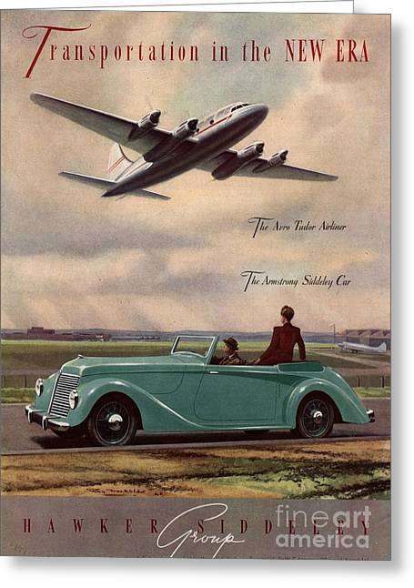 Twentieth Century Greeting Cards -  1940s Uk Aviation Hawker Siddeley Cars Greeting Card by The Advertising Archives