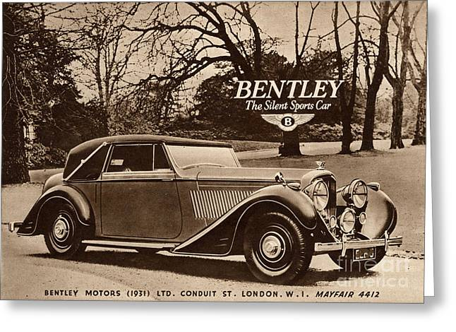 Vintage Automobiles Greeting Cards -  1940s Uk Bentley Sports Cars Greeting Card by The Advertising Archives