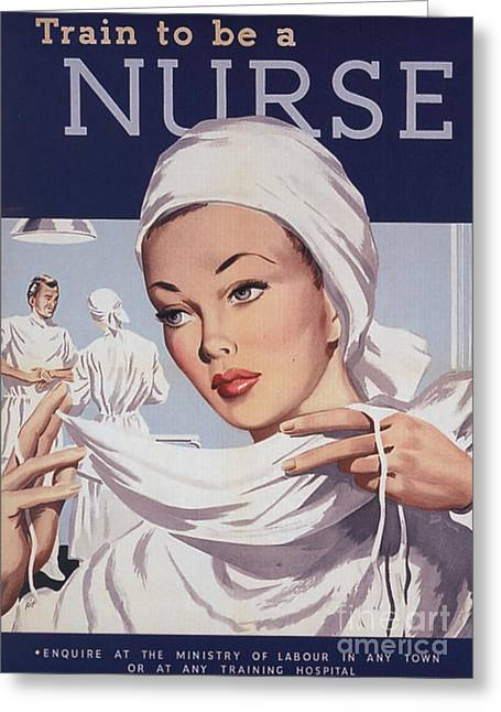 Ww Ii Drawings Greeting Cards -  1940s Uk Nurses Recruitment World War Greeting Card by The Advertising Archives