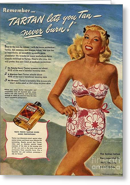1940s Usa Tartan   Lotions Swim Suits Greeting Card by The Advertising Archives