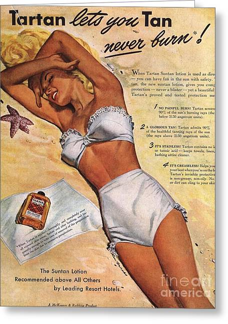 Swimsuits Swimming Costumes Greeting Cards -  1940s Usa Tartan Suntans Sunbathing Greeting Card by The Advertising Archives