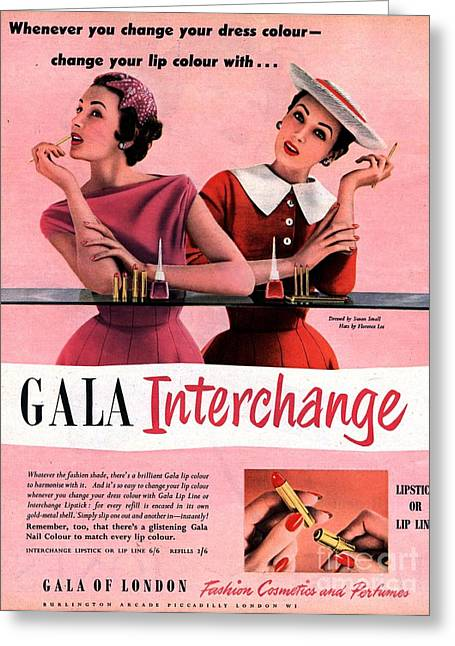 1950s Uk Gala Of London Lipsticks Greeting Card by The Advertising Archives