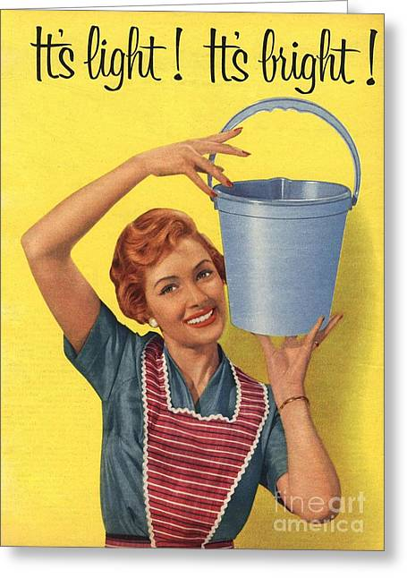 WomenÕs Drawings Greeting Cards -  1950s Uk Housewife Housewives Buckets Greeting Card by The Advertising Archives