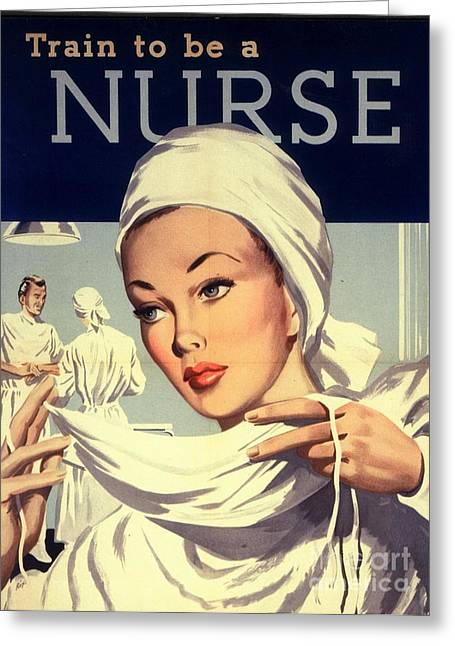 Vintage Greeting Cards -  1950s Uk Nurses Hospitals Medical Greeting Card by The Advertising Archives