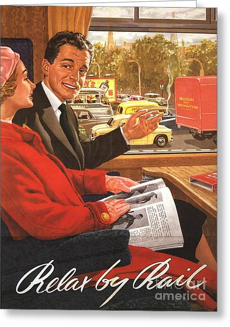 Vintage Greeting Cards -  1950s Uk Rail Carriage Passengers Greeting Card by The Advertising Archives