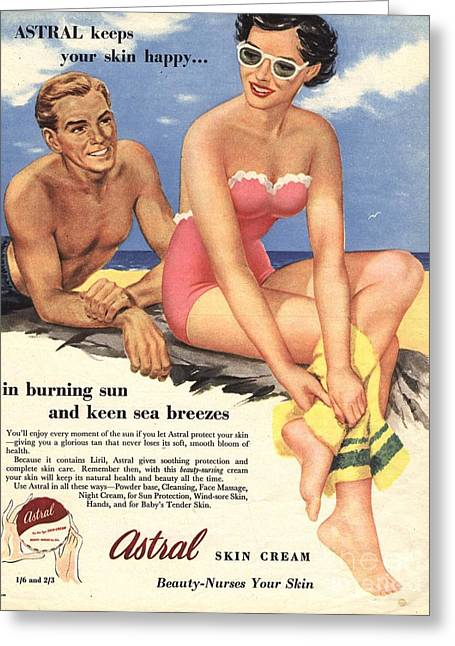 Twentieth Century Drawings Greeting Cards -  1950s Uk Sun Creams Lotions Tan Greeting Card by The Advertising Archives